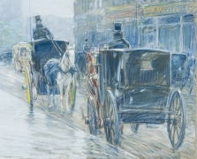CHILDE HASSAM (1859–1935), A Wet Day on Broadway, 1891. Pastel on fine-weave canvas, 18 x 21 7/8 in. Detail of horse-drawn cabs on Broadway.