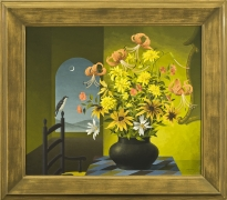 THOMAS FRANSIOLI (1906–1997), Still Life of Flowers, 1959. Oil on canvas, 24 x 28 in. Showing gilded frame.