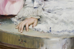 RAIMUNDO DE MADRAZO Y GARRETA (1841–1920), Portrait of Gertrude Vanderbilt, 1880. Oil on canvas, 58 3/8 x 39 1/4 in. Detail of sitter's right hand.