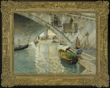FRITS THAULOW (1847–1906), Under the Rialto Bridge of Venice, 1885. Oil on canvas, 25 x 34 in. Showing gilded Louis XV-style frame.