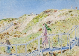CHILDE HASSAM (1859–1935), Down the Steps from the Dune Hazard, East Hampton, 1921. Oil on canvas, 21 1/2 x 30 in.