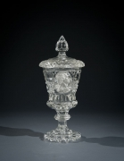 Clear Glass Covered Urn, or Pokal, with Sulphide Portrait of George Washington, about 1825French, probably BaccaratGlass, blown and cut, with sulphide incrustation 10 5/8 in. high