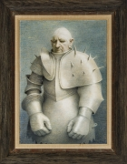 """ROBERT VICKREY (1926–2011), """"Clown in Armor,"""" 1961. Egg tempera on gessoed panel, 33 1/2 x 23 7/8 in. Showing original wood-stained frame."""