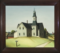 PAUL SAMPLE (1896–1974, Church in Evansville (Schoolhouse), 1934. Oil on canvas, 24 x 28 in. Showing stained-wood frame.