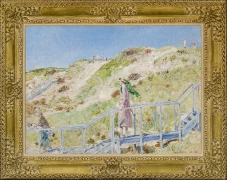 CHILDE HASSAM (1859–1935), Down the Steps from the Dune Hazard, East Hampton, 1921. Oil on canvas, 21 1/2 x 30 in. Showing gilded frame.