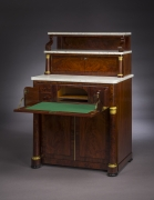 Butler's Desk and Etagére, about 1825. New York, possibly by Duncan Phyfe. Mahogany, with ormolu mounts, marble, and brass. 54 in. high, 36 5/8 in. wide, 23 5/8 in. deep. With open desk front.