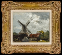 ROBERT HENRI (1865–1929), Windmill near Edam, 1907. Oil on wood panel, 8 x 10 in. Showing carved and gilded Louis XV frame.