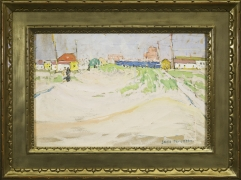 "JANE PETERSON (1876–1965), ""Harbor with Dunes,"" about 1915–20. Watercolor and gouache on paper, 12 x 18 in. Showing gilded frame."