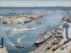 PAUL SAMPLE (1896–1974), San Pedro Harbor, 1937. Oil on canvas, 30 x 40 in.
