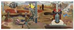 JAMES GUY (1909–1983), The Camouflage Man in a Landscape (A Six-panel Mural), 1939. Oil on Masonite, 83 x 216 in.