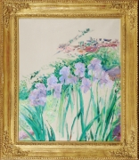 LILLA CABOT PERRY (1848–1933), Study of Flowers. Oil on canvas, 30 x 24 in. Showing gilded Regency-style frame.