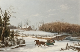 Image of Thomas Birch's The Sleigh Ride, oil on canvas, 18 x 27 inches, painted in 1838