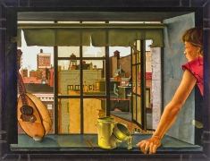 "JULES KIRSCHENBAUM (1930–2000), ""Young Woman at a Window,"" about 1953. Oil on canvas, 30 1/8 x 40 1/4 in. With welded metal frame."