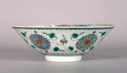 Fine and Rare Famille Verte Porcelain Conical Bowl