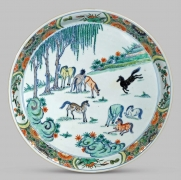 Very Unusual Chinese Doucai and Famille Verte Porcelain Plate