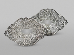 Fine Pair of Chinese Export Silver Handled Basket Dishes