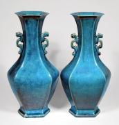 Pair of Chinese Turquoise Glazed Porcelain Vases
