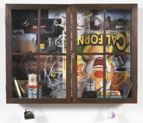 Inkantinent Mochte Gemacht; Kalifornia, 2011. Mixed media collage in cabinet/window, 37 1/2 x 49 1/2 x 10 inches (95.3 x 125.7 x 25.4 cm). MP 19