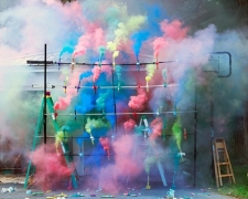 Smoke Bombs 2, 2011. Mounted c-print on 6mm sintra, framed. 48 1/2 x 60 3/4 inches (123.2 x 154.3 cm)