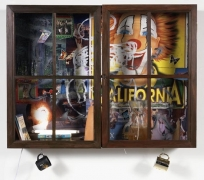 Inkantinent Mochte Gemacht; Texas, 2011. Mixed media collage in cabinet/window, 37 1/2 x 49 1/2 x 10 inches (95.3 x 125.7 x 25.4 cm). MP 18