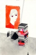 Painted Portrait with Books, 2007. Graphite and watercolor on paper, 12 x 7-3/4 inches (image) (30.5 x 15.9 cm); 19-3/4 x 14-3/4 inches (frame) (46.4 x 33.7 cm). MP D-191