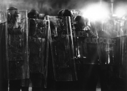 Untitled (Riot Cops), 2016. Charcoal on mounted paper, 2 panels, 101 x 140 inches (256.5 x 355.6 cm).