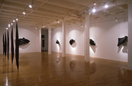 """Black Flags,"" installation view, 1990. Metro Pictures, New York."