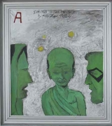 Survived To Tell The Tale, 2007. Oil and silver bronze on canvas, 33-5/8 x 37-3/4 inches (image) (82.2 x 92.1 cm). MP 11