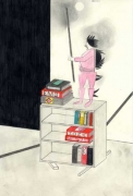 Cabinet with Many and One, 2007. Graphite and watercolor on paper, 12 x 7-3/4 inches (image) (30.5 x 15.9 cm); 19-3/4 x 14-3/4 inches (frame) (46.4 x 33.7 cm). MP D-199