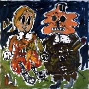 Untitled (Mann u. Frau), 2007. Oil on canvas, 35.43 x 35.43 inches (90 x 90 cm).