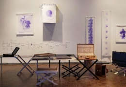 """""""The Image of Limited Good,"""" 2014. In collaboration with Valerie Snobeck. Installation view, Whitney Biennial, Whitney Museum of American Art, New York."""