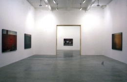 """""""Paint, Wall, Pictures: Something Always Follows Something Else She Wasn't Always a Statue,"""" installation view, 1997. Metro Pictures, New York."""