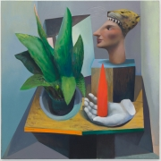Still life with Obelisk, 2015. Oil on linen, 29 9/16 x 29 1/2 inches (75 x 74 cm).