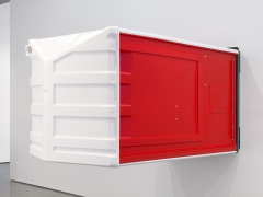 Four Red Portable Toilets, 2018. Four sculptures consisting of HDPE, Rivets, Toilet paper,