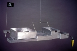 Repressed Spatial Relationships Rendered as Fluid, No. 3: Reconfiguration of Wayne High into the Ritual Presentation Arena of the Educational Complex, 2002. Aluminum, steel, ceramic, cloth. MP 02-15