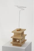 Untitled, 2011. Wood, wire, tin can and sea shell, 23 1/2 x 9 x 7 1/8 inches (59.7 x 22.9 x 18.1 cm).