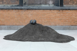 Female Nude, 2015.5 Lodoicea seed, fertilized dirt, Dimensions variable.