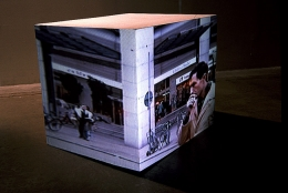 Mall Block, 1997. Sony CPJ 200 projector, videotape, Samsung VCR, wood, 18 x 12 x 18 inches (45.7 x 30.5 x 45.7 cm). MP 213