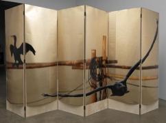 L'eau de vie Screen #3, 2010. Acetate, foil, mdf, 6 panels, 76 x 23.5 x 1 inches (each panel); 76 x 141 x 1 inches (overall). MP 132