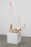 Untitled, 2013. Wood, wire, thread and plastic mesh bags, 45 x 24 x 10 inches (114.3 x 61 x 25.4 cm).
