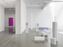 """Sara VanDerBeek, """"Pieced Quilts, Wrapped Forms."""" Installation view, 2016. Metro Pictures, New York."""