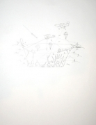 Olaf Breuning, War, 2007. Graphite on paper, 11 x 8-1/2 inches (27.9 x 19.1 cm). MP D-65