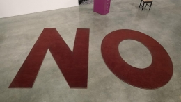 Untitled, 2011. Two Brown letter floor rugs, letter N - 107 1/2 x 71 inches / 273.1 x 180.3 cm; letter O - 107 1/2 x 83 1/2 inches / 273.1 x 212.1 cm; NO - 107 1/2 x 169 3/4 inches / 273.1 x 431.2 cm.