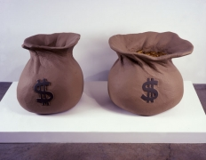 Jim Shaw, Money Bags, 2001. Foam, acrylic, paint and resin, 23 x 26 3/4 x 20 inches; 23 1/2 x 23 3/4 x 26 1/4 inches; installed dimensions: 57 1/2 x 26 3/4 inches. MP 131