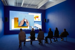 """Grosse Fatigue, 2013. Installation view from """"The Restless Earth,"""" New Museum, New York, 2014."""