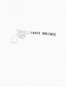 Olaf Breuning, I Hate Violence, 2008. Graphite on paper, 11 x 8-1/2 inches (27.9 x 19.1 cm). MP D-129