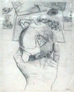 Study for Protest Poster, 1987. Pencil and colored pencil on paper, 17 x 14 inches. MP D-33