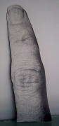 Finger, 2003. Graphite on rag board gessoed to wood, 31 1/2 x 9 inches. MP 150