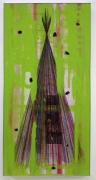 Stephen G Rhodes, Overlooked Xcorcize 5, 2009. Crayon, ink, wax, resin, green paint and collage on board, 84.25 x 42.25 inches (214 x 107.3 cm). MP 1