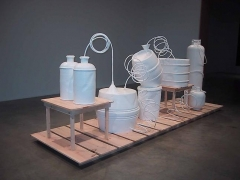 """""""Wishful Drinking,"""" installation view, 2001. Metro Pictures, New York."""